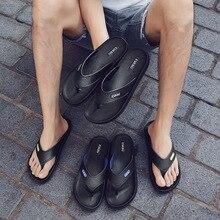 2019 Summer Men Slippers Flip Flops Beach Shoes Fashion Brand Male Black KA884
