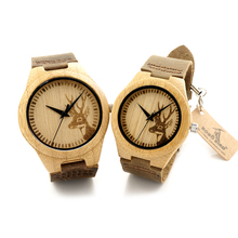 BOBO BIRD F29 Lovers 100% Natural Bamboo Wooden Watch with Genuine Brown Leather Strap Japanese Quartz Movement Casual Watches