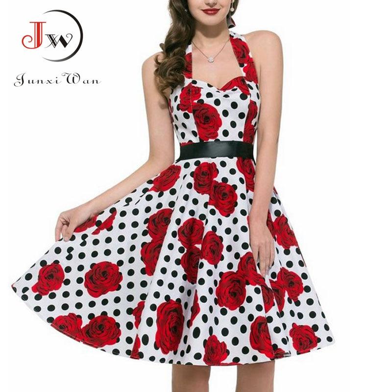 Women Polka Dot   Dress   Big Swing Vestidos Retro Robe Casual   Prom   Rockabilly Party   Dress   50s 60s Pinup Vintage   Dresses