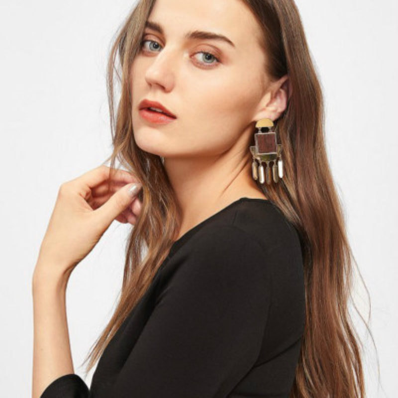Vintage Style Geometric alloy tassel earring Wood Big Earrings Gold color Jewelry For Women Fashion Jewelry Wholesale 2018