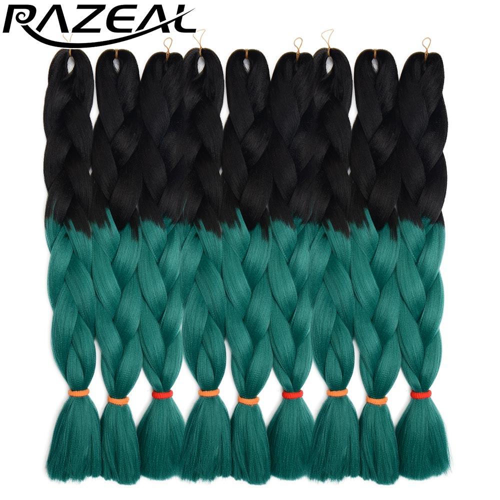 Hair Extensions & Wigs Lovely Razeal 20 Ombre 100g Crochet Braids Synthetic Braiding Hair Jumbo Braids Hair Extension High Temperature Fiber Hair Braids