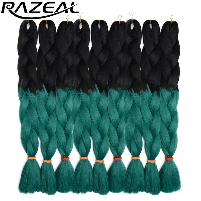 "Razeal 20"" ombre 100g crochet braids synthetic braiding hair jumbo braids hair Extension high temperature fiber"
