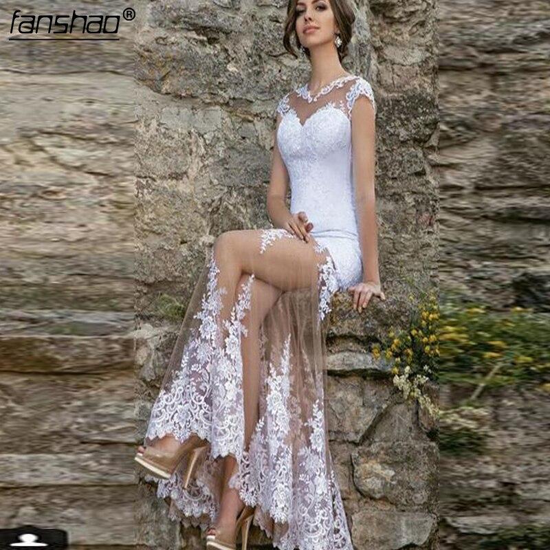 Vestido De Noiva Muslim Wedding Dresses Tulle Appliques Lace Illusion Mermaid Boho Dubai Arabic Wedding Gown Bridal Dress