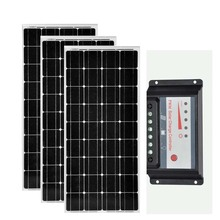 Solar Panels For Home 300w 36v Solar Plate 12v 100w 3 PCs Solar Charger Battery Solar PWM Controller 12v/24v 30A Solar Home Kit 24v pwm ls3024b 12v 24v 30a controller with temperature sensor for solar system home use and mt50 remote meter ble box
