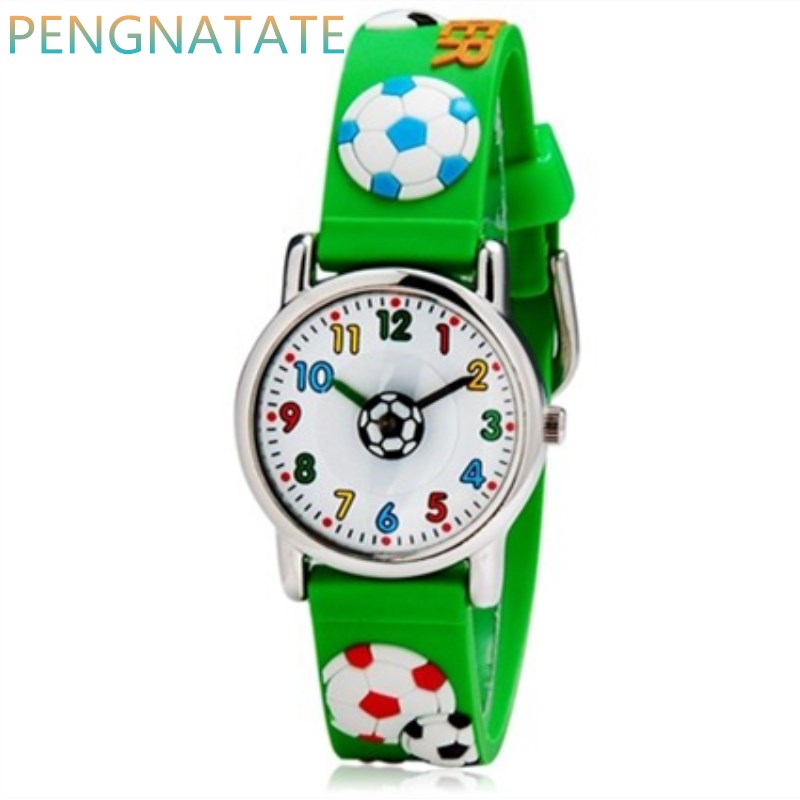 WILLIS Quartz Children Watch Diversity Cartoon SOCCER 3D Waterproof Watches Bright Color Stylish Analog Jelly Watches PENGNATATE