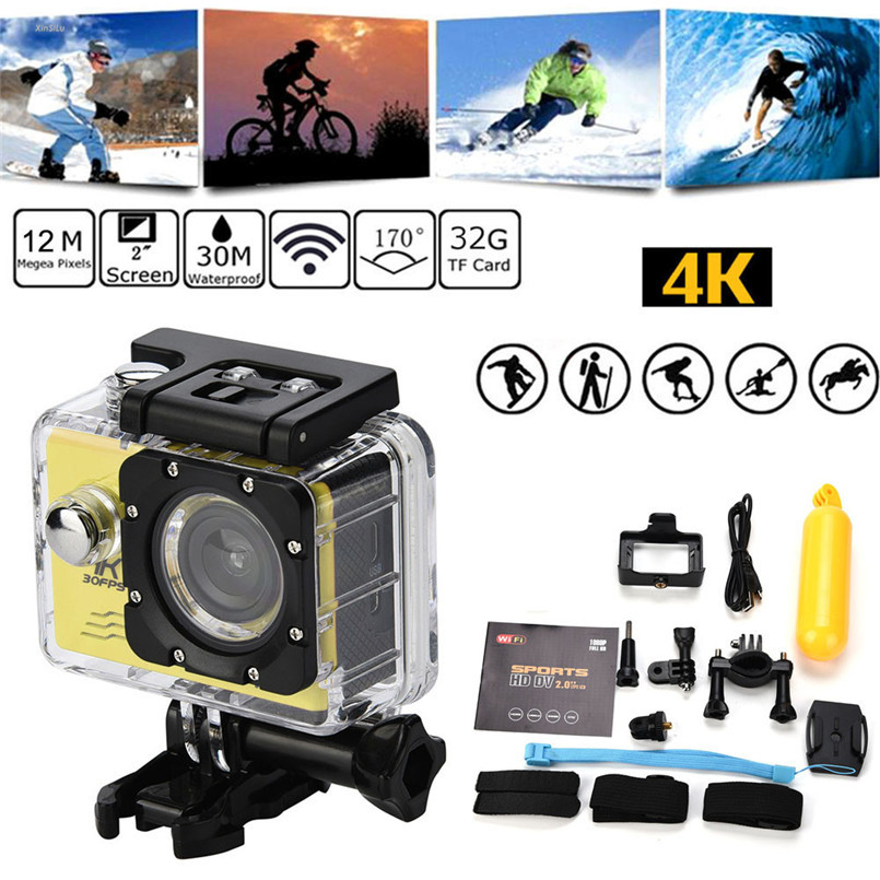Waterproof 4K Wifi Full HD1080P Ultra Sports Action Camera DVR Cam Camcorder With a waterproof casing camara deportiva aksiyon