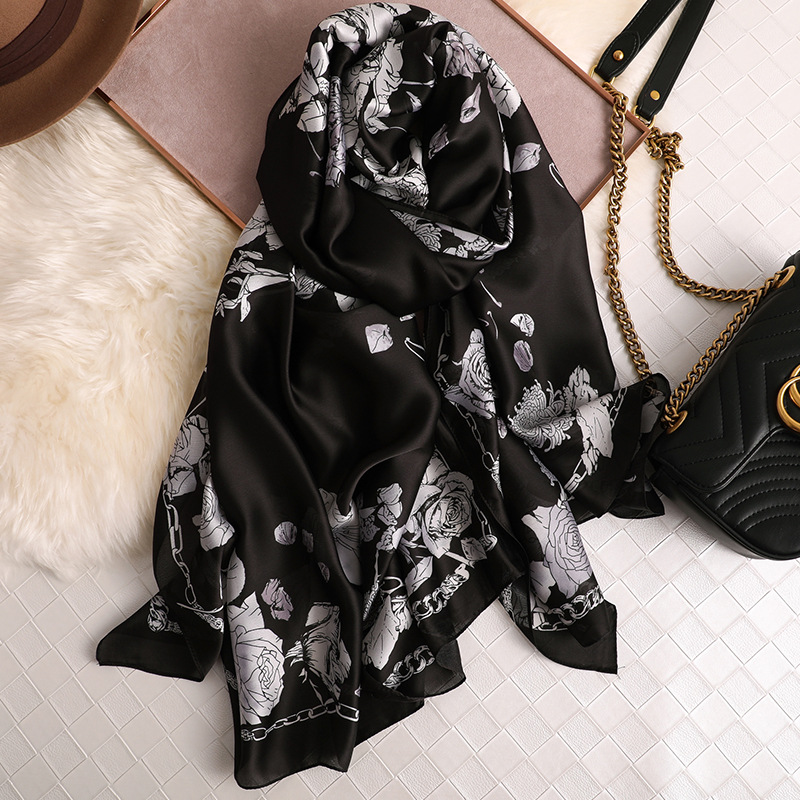 2019 New Women Long Size Silk   Scarves   Flower Printed   Scarf     Wrap   Bandana Ladies Shawls Hijab Female Thin   Wraps