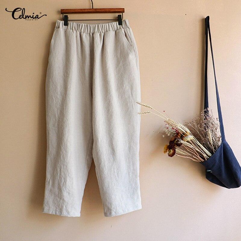 Celmia Women Vintage Linen Pants Plus Size Elastic Waist Pockets Casual Trousers 2019 Summer Long Harem Pants Baggy Pantalon 4XL