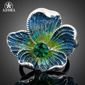 AZORA Platinum Plated Blue Stellux Austrian Crystal Multicolour Flower Pattern Ring TR0021