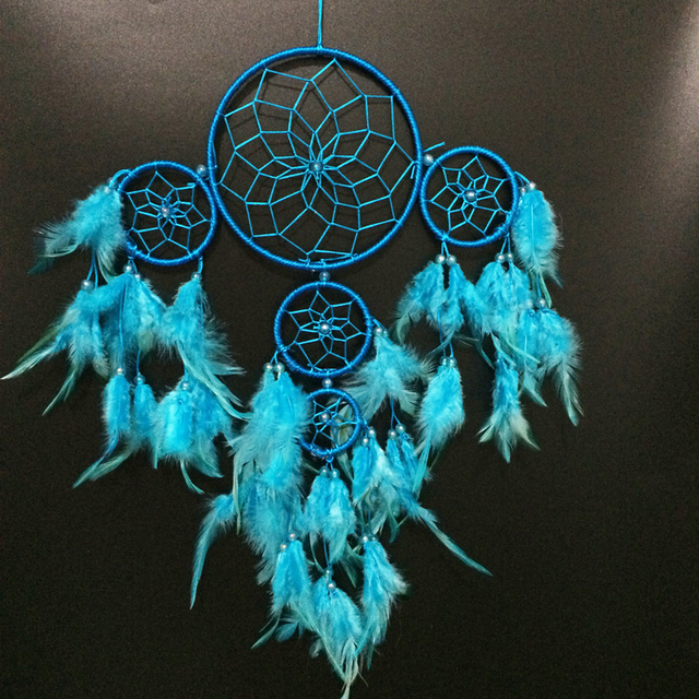 40 Free Shipping Blue Indian Dream Catcher With 40 Circles Babies Impressive Native American Beaded Dream Catchers