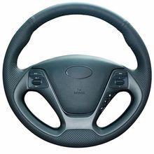 цена на Top Leather Steering Wheel Hand-stitch on Wrap Cover For Kia K3 2013 Kia K2 2015 Kia Ceed Cee'd 2013 2014 Kia Cerato 2013-2015