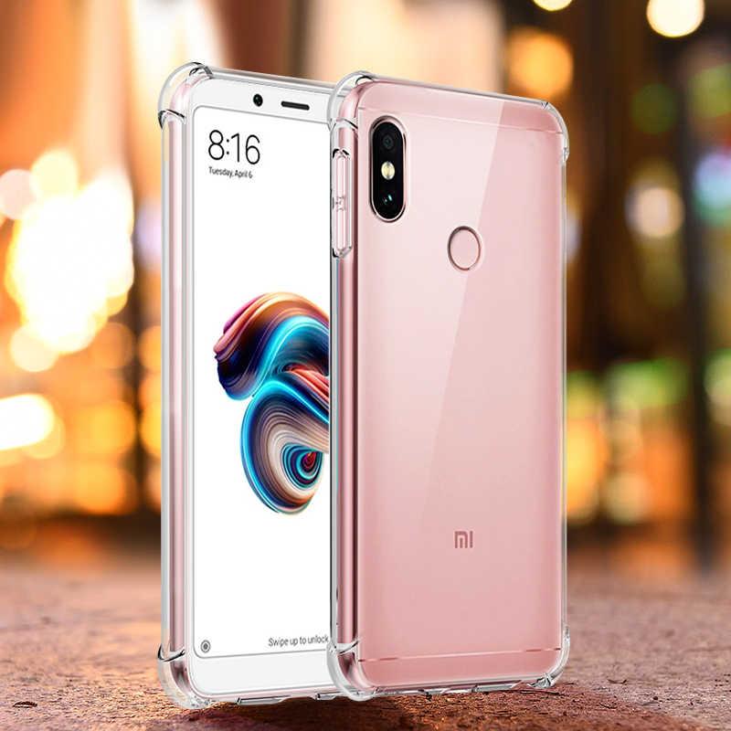Para Xiaomi Redmi Nota 6 Pro Caso de Proteção Integral Anti-bater Airbag Capa de Silicone para Redmi Nota 5 6 pro 5 Plus 6A Tampa Transparente