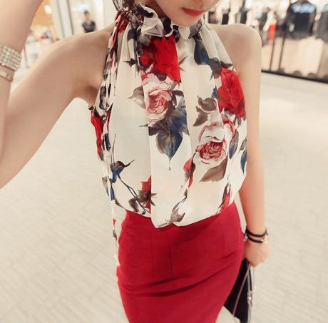 2015 Summer Halter Floral Chiffon Blouse Print Sleeveless Thin Transparent Shirt Women Turtleneck Ruffles blusas femininas S0394