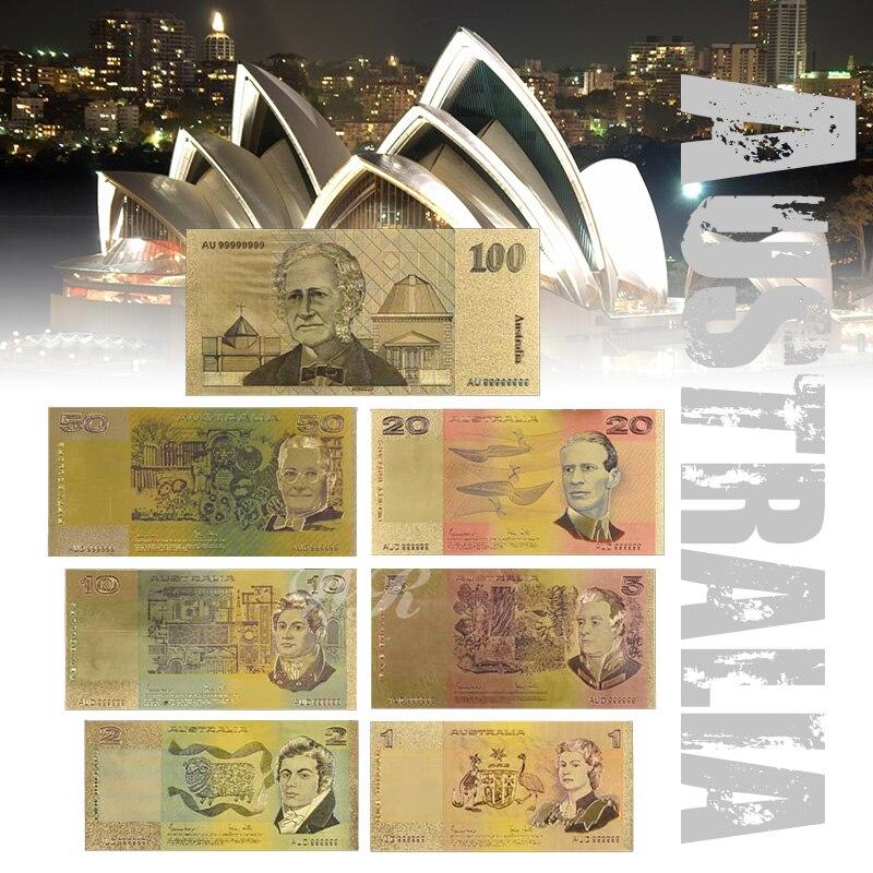 Coloré Australie Or Billet Vieux AUD 1 2 5 10 20 50 100 Billets Ensemble Acrylique de Billets D'or Plaqué Avec certificat