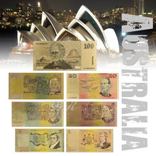 Colorful Australia Gold Banknote Old AUD 1 2 5 10 20 50 100 Banknote Set Acrylic Banknote Gold Plated With Certificate(China)