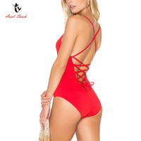 Ariel Sarah Brand Solid Bathing Suit Women Halter One Piece Swimsuit Swimwear Women Bandage Monokini Sexy