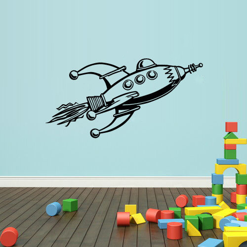 3 sizes Wall Decal Vinyl Sticker Decals Kids Nursery Rocket Space Stars  Rocket Boys Wall Sticker