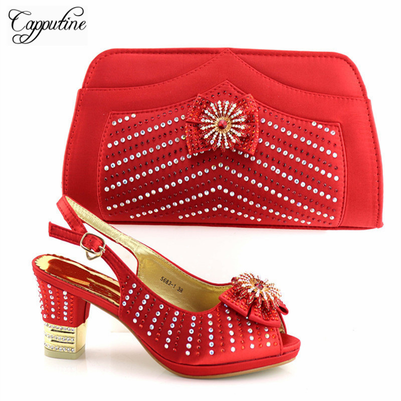 Hot Artist 2018 High Quality African Wome Red Shoes And Bag Set Decorated With Rhinestone Italian Shoes With Bag Set TX-5681Hot Artist 2018 High Quality African Wome Red Shoes And Bag Set Decorated With Rhinestone Italian Shoes With Bag Set TX-5681