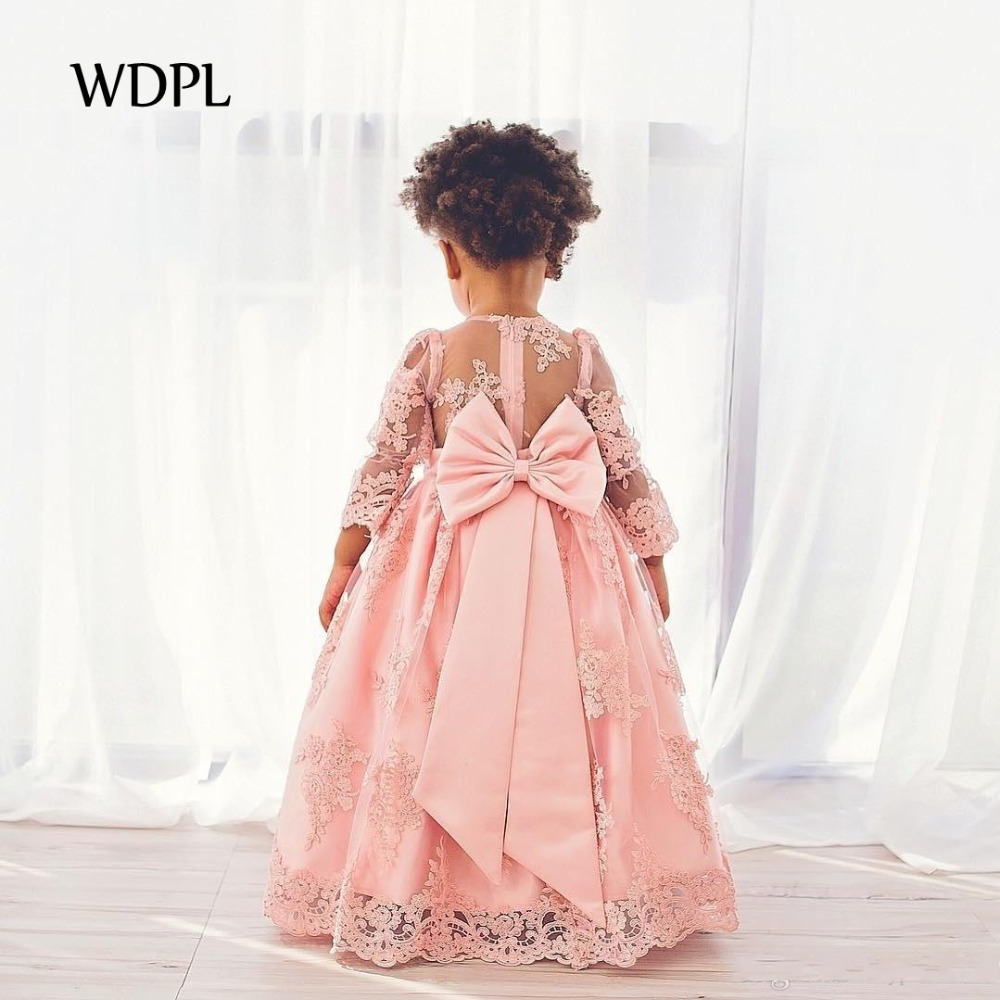 Girls   Pageant Gown Full Sleeve Long Children Formal Party   Dresses   vestido daminha   Flower     Girl     Dress   Pink A Line Appliques