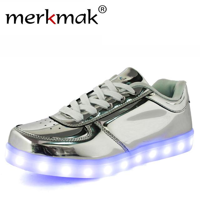 Zapatos caliente 8 colores Brillantes Con Luz Láser LED Moda Casual Superficie de Cuero Unisex Oro Plata USB La Luz Hasta Los Zapatos Para Adultos