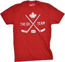 Mens The Eh Team Canadian Hockey Sticks and Puck Sporting T shirt Harajuku Tops t Fashion Classic Unique free shipping