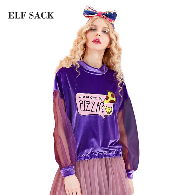 ELF SACK Spring Women Plus Size Velvet Vintage Shirts Pullovers Patch Embroidered Eugen Yarn Long sleeve T-shirt Female Tee Tops