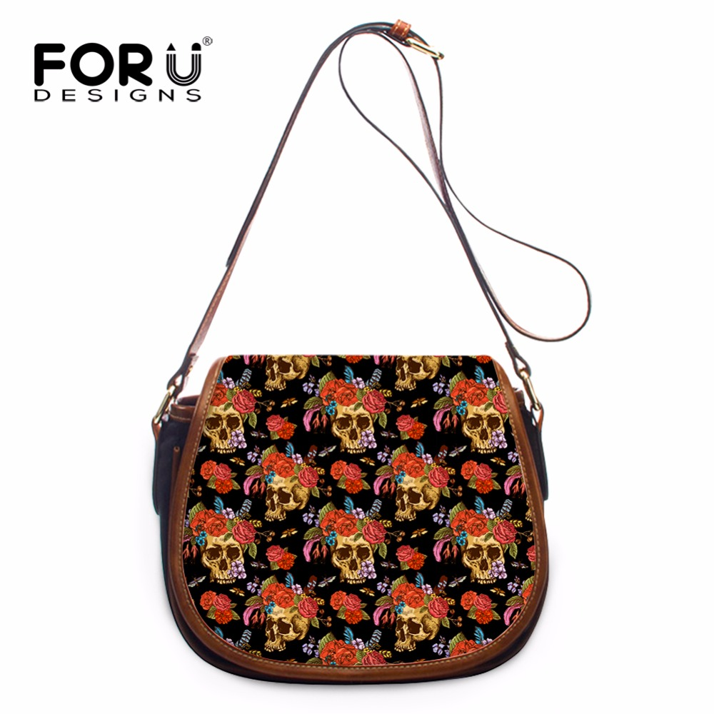 FORUDESIGNS Brand Designer Women Shoulder Bags,2017 Skull Printing Small Messenger Bags,Ladies Girls PU Leather Crossbody Bags