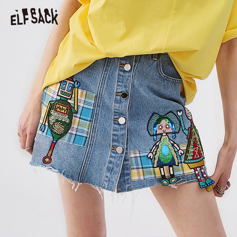 ELFSACK Blue Embroidery Mid Waist Women Frayed Denim Skirt 2019 Summer Fashion A-Line Female Skirts Casual Cotton Woman Bottoms