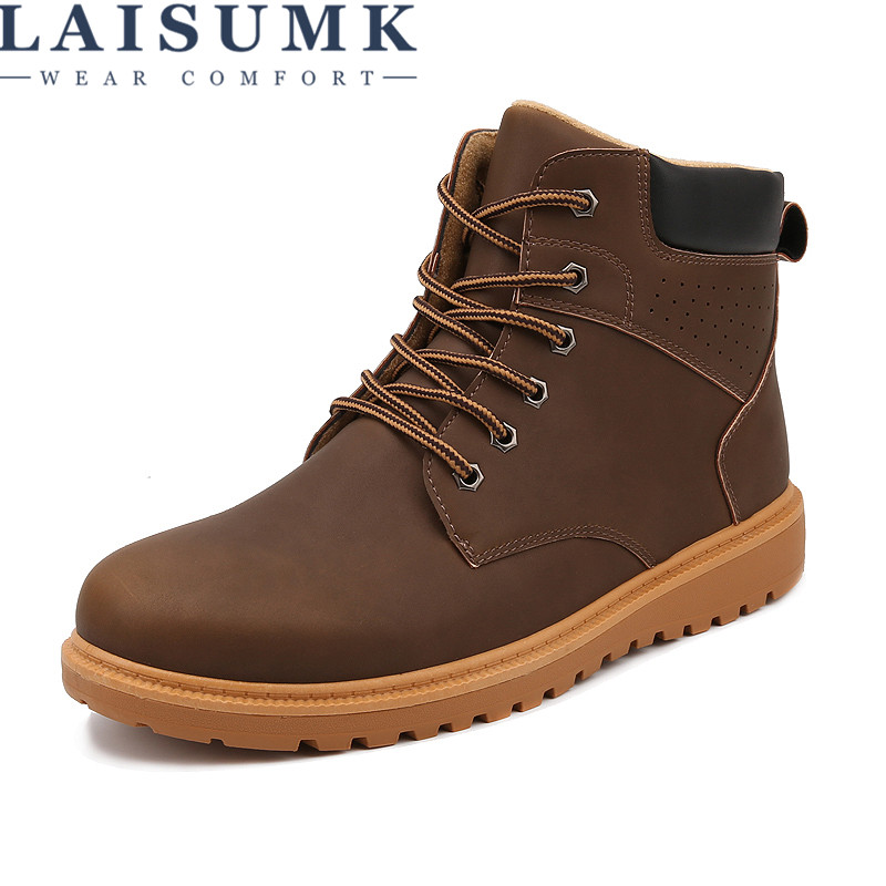 2017 LAISUMK Big Size 11 Men Working Shoes New Autumn Waterproof Fashion Shoes PU Leisure Martin Ankle Boots Mens