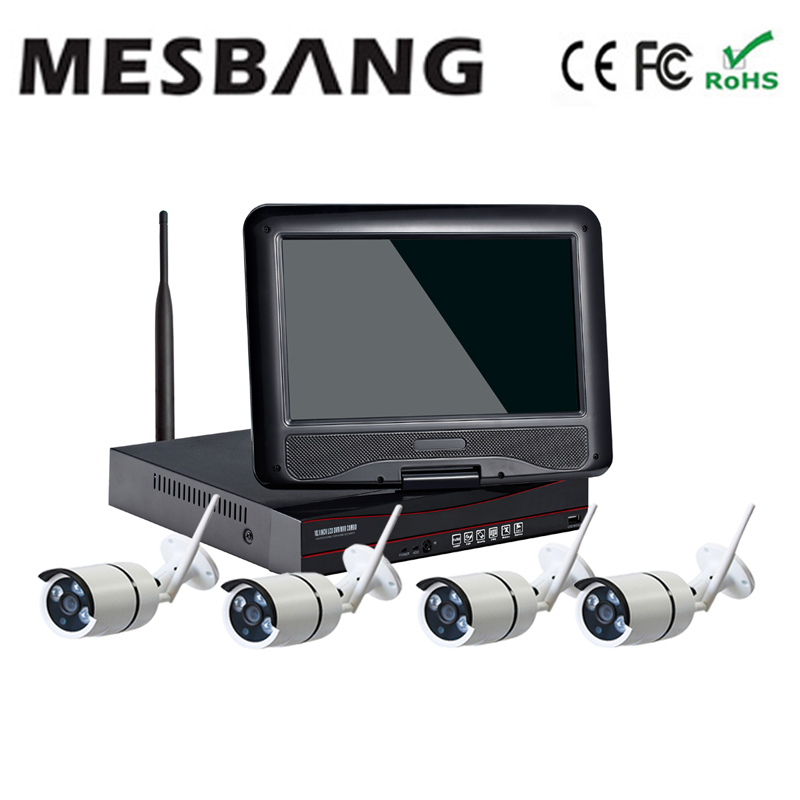 Mesbang 720P P2P 4ch shop office shop wireless cctv camera system  10 inch monitor  delivery by DHL Fedex free shipping 2017 mesbang 960p 4ch camera security wireless set wifi nvr kits good for small shop and office using delivery by dhl fedex