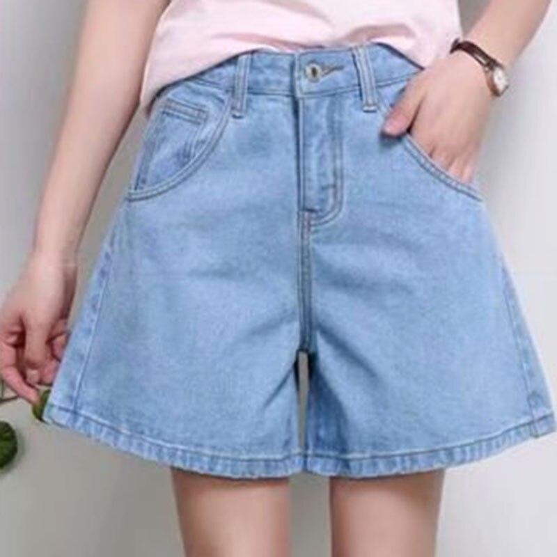 High Waist Flare   Shorts   Pocket Design Summer Denim   Shorts   Loose Women's Clothing Girls Casual   Shorts
