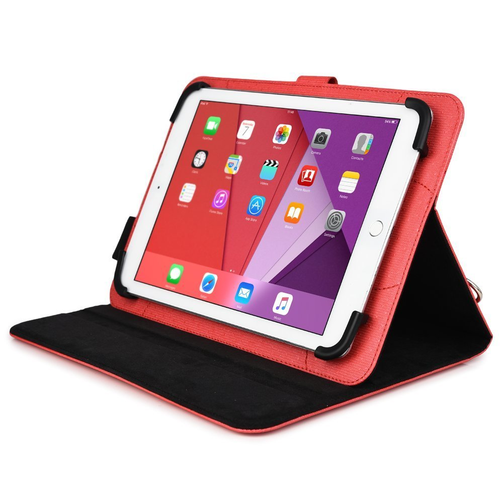 For Samsung Galaxy Tab A 9.7 (SM-T550) Tablet Travel Portfolio Case W/ Hand & Shoulder Straps In Red Color
