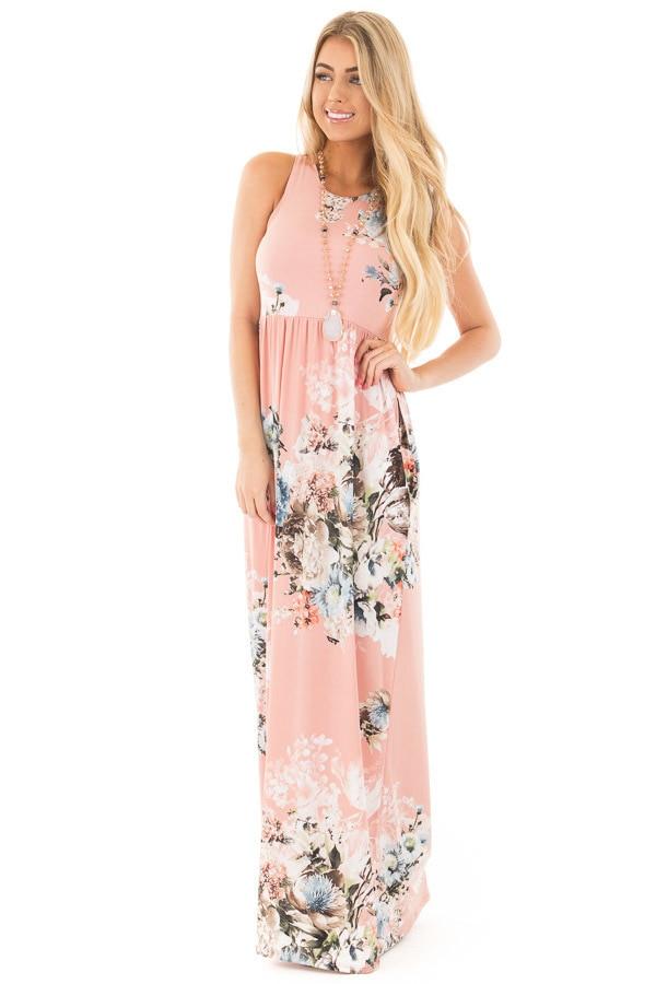 women dress 2019 summer long floral print bohemian floor length beach dress loose sleeveless o-neck maxi dress vestidos shipping