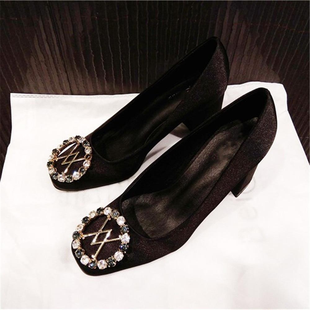 Stkehidba 패션 디자이너 브랜드 여성용 펌프 정품 가죽 여성용 펌프 탑 크리스탈 새틴 블록 힐 펌프 34 41-에서여성용 펌프부터 신발 의  그룹 1