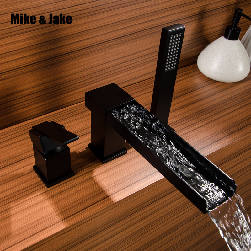 Black Waterfall Bathtub Mixer With Brass Hand Shower Double Function Bathtub Faucet Set Deck Mounted Bath Shower Faucet  MJ0311