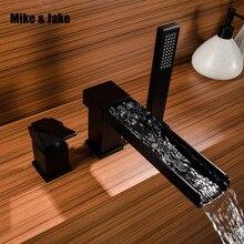 Torneira de banheira, cachoeira preta com banheira de bronze, chuveiro de mão, dupla função, conjunto de torneira, deck montado, torneira do chuveiro, mj0311