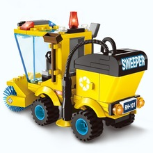 Life Skills Toys Sweeper Car City Series Truck Building Blocks Kids Educational Construction Road Roller Forklift Tractor Gifts