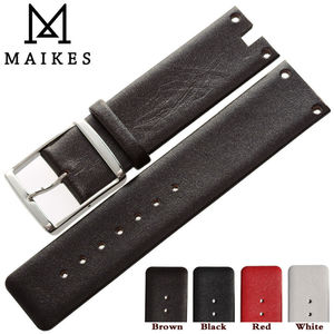 Image 4 - MAIKES New Good Quality Genuine Leather Watchbands Case For CK Calvin Klein K94231 White Black Thin Watch Strap Band