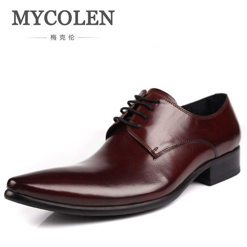Boda Sapatos Hombre Vestido Auténtico Guapos Negro Negocios Marrón Para Estrecha Punta vino Becerro Cuero Social Mycolen Tinto Negro Formal Zapatos Hombres IwqaZn