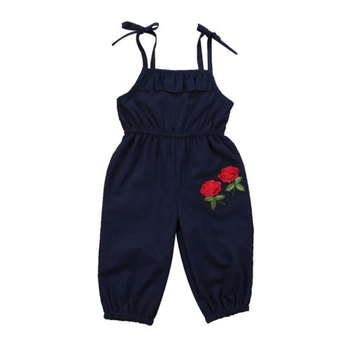 Fashion Toddled Kids Baby Girls Flower Casual Loose Lace Up Solid Overalls Long Pants Clothes Spring Summer