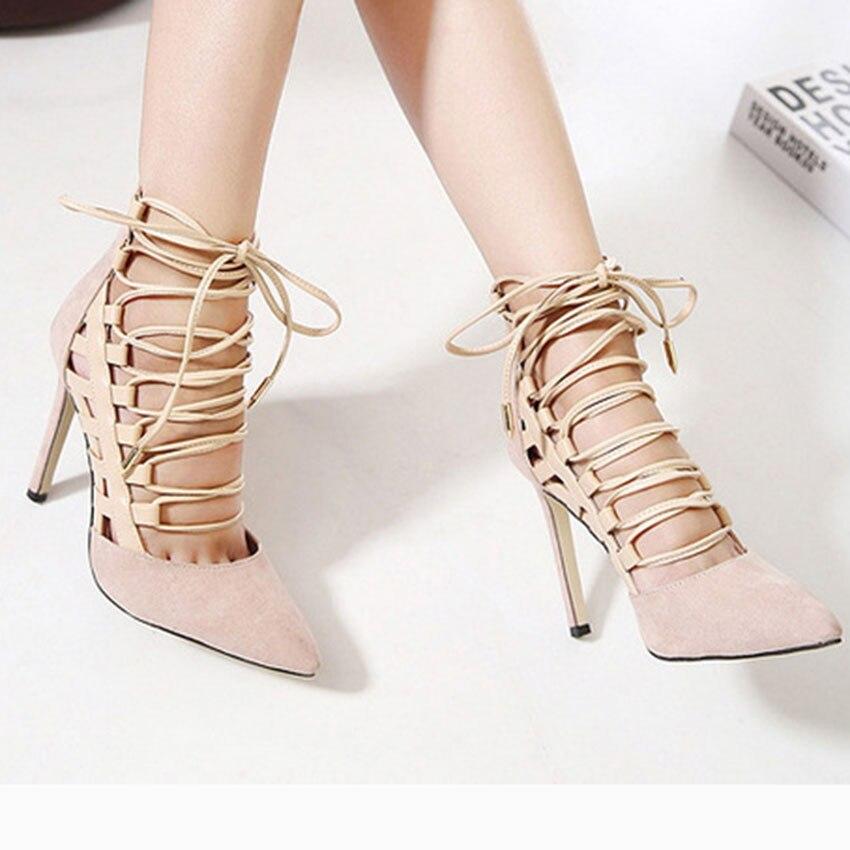 bigtree brand sandals women mature flock high heel cross tied