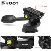 SHOOT Professional Aluminum 3 Way Fluid Rocker Arm Video Ball Head Quick Release Plate for Canon Nikon DSLR Cam Tripod Monopod