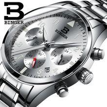 Binger Chronograph Casual Watch Men Luxury Brand Quartz Military Sport Watches Genuine Leather Man Wristwatch relogio masculino