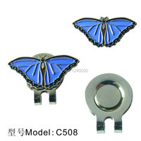 Free Shipping Blue Butterfly With Crystals Golf Ball Marker W Bonus Magnetic Hat Clip