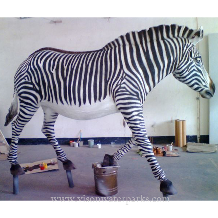 Well-Educated Customized Strong Resin Fiberglass Zebra African Animals Sculpture Combination For Water Amusement Park Vison Waterparks Bringing More Convenience To The People In Their Daily Life