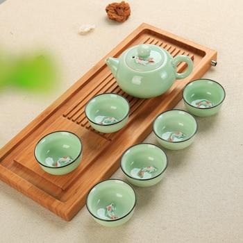 ĸ�国茶セット磁器青磁魚ティーカップセットスプーン烏龍茶カンフー蓋 (ない含むトレイ)
