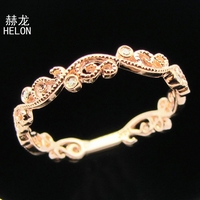 Solid 10K White Gold Bezel Set Natural Diamonds Vintage Engagement Wedding Xmas Gift Ring Band Art Deco jewelry Women Band