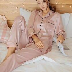 Женская шелковая атласная пижама, пижамный комплект, пижама с длинными рукавами, Пижамный костюм, женский пижамный комплект из двух