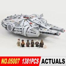 1381 pcs Star Wars Lepin 05007 Millennium Falcon Jouets building blocks marvel Enfants Jouet Compatible 10467 Cadeaux