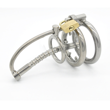 Male Chastity Cage Metal Cock Ring Stainless Steel Chastity Cage with Urethral Insert Penis Plug Horse